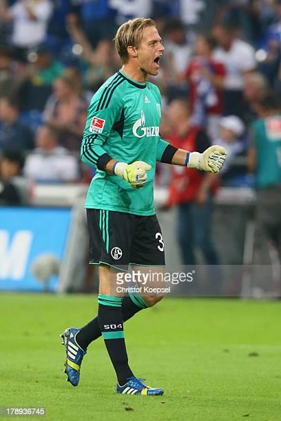 Timo Hildebrand of Schalke celebrates after winning the Bundesliga match between FC Schalke 04 and Bayer Leverkusen at VeltinsArena on August 31 2013...