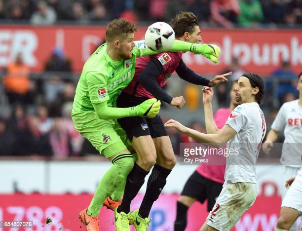 Timo Horn of 1 FC Koeln Niklas Stark of Hertha BSC and Neven Subotic of 1 FC Koeln during the game between dem 1 FC Koeln and Hertha BSC on march 18...