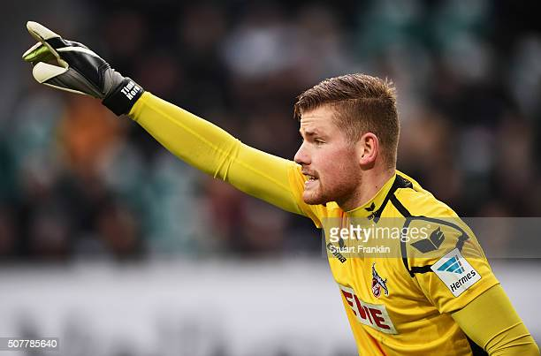 Timo Horn of Cologne looks dejected during the Bundesliga match between VfL Wolfsburg and 1 FC Koeln at Volkswagen Arena on January 31 2016 in...