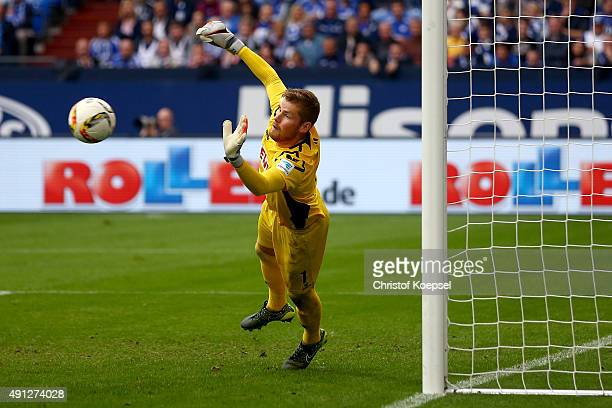 Timo Horn of Koeln saves a freekick during the Bundesliga match between FC Schalke 04 and 1 FC Koeln at VeltinsArena on October 4 2015 in...