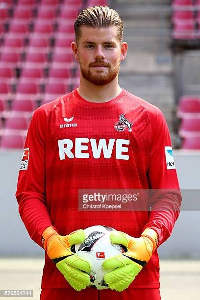 Timo Horn poses during the team presentation of 1 FC Koeln at RheinEnergieStadion on July 18 2016 in Cologne Germany
