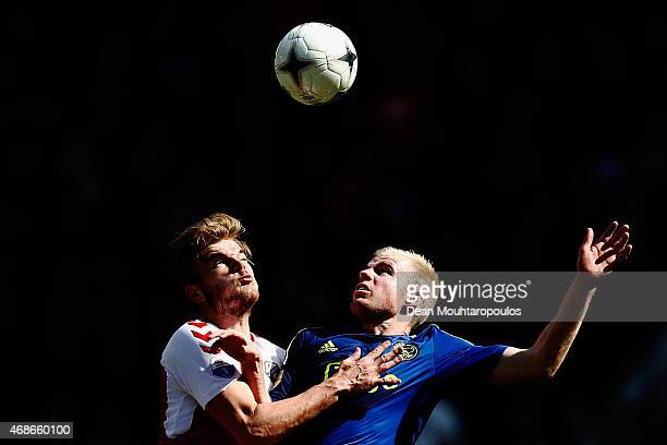 Timo Letschert of Utrecht and Davy Klaassen of Ajax battle for the ball during the Dutch Eredivisie match between FC Utrecht and Ajax Amsterdam held...