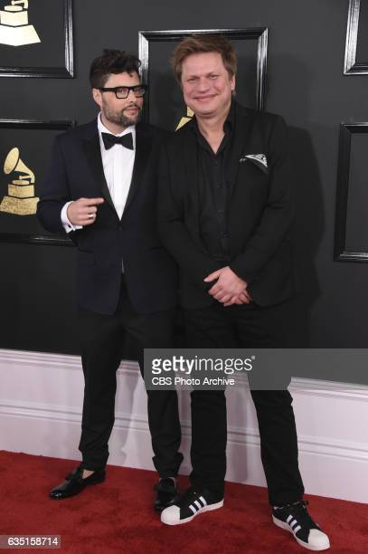 Timo Maas and James Teej pose for a photograph on the Red Carpet at THE 59TH ANNUAL GRAMMY AWARDS broadcast live from the STAPLES Center in Los...