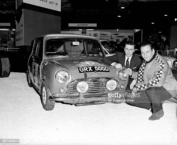 Timo Makinen and his codriver Paul Easter with their Mini Cooper which was disqualified after winning the Monte Carlo Rally due to headlight...