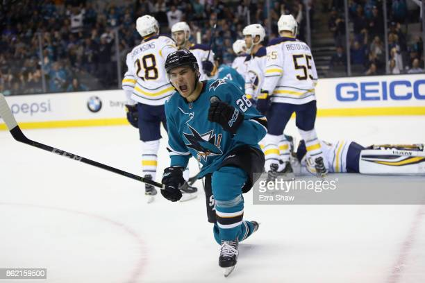 Timo Meier of the San Jose Sharks reacts after he scored on the Buffalo Sabres at SAP Center on October 12 2017 in San Jose California
