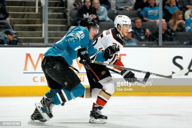 Timo Meier of the San Jose Sharks skates against Brandon Montour of the Anaheim Ducks at SAP Center on November 20 2017 in San Jose California