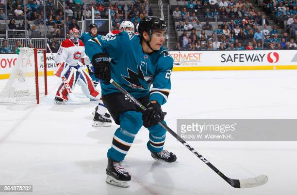 Timo Meier of the San Jose Sharks skates against the Montreal Canadiens at SAP Center on October 17 2017 in San Jose California