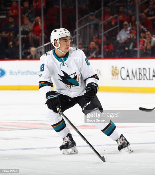 Timo Meier of the San Jose Sharks skates against the New Jersey Devils at the Prudential Center on October 20 2017 in Newark New Jersey The Sharks...