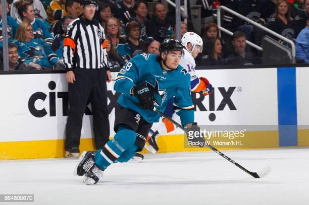 Timo Meier of the San Jose Sharks skates against the New York Islanders at SAP Center on October 14 2017 in San Jose California