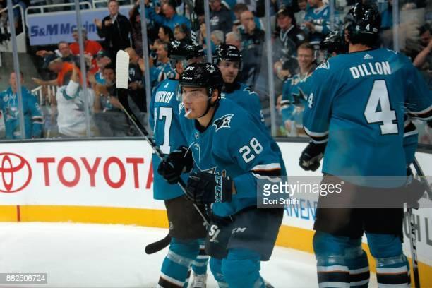 Timo Meier of the San Jose Sharks skates away after celebrating a goal during a NHL game against Buffalo Sabres at SAP Center at San Jose on October...