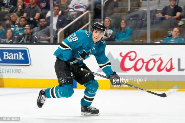 Timo Meier of the San Jose Sharks skates San Jose Shark during a NHL game against the Montreal Canadiens at SAP Center on October 17 2017 in San Jose...