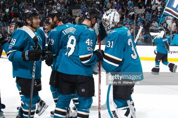 Timo Meier Tomas Hertl and Martin Jones of the San Jose Sharks celebrate a win against the Buffalo Sabres at SAP Center on October 12 2017 in San...