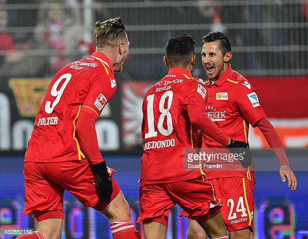 Timo Perthel of Berlin celebrates scoring his goal with Sebastian Polter during the Second Bundesliga match between 1 FC Union Berlin and VfL Bochum...