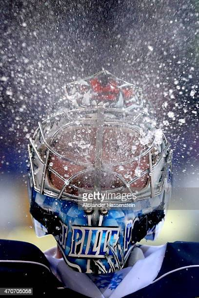 Timo Pielmeier goalie of Ingolstadt refreshs himself during the DEL Playoffs Final Game 6 between ERC Ingolstadtat and Adler Mannheim at Saturn Arena...