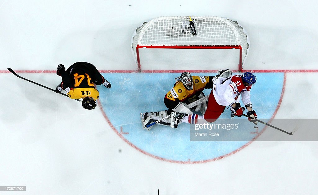 Timo Pielmeier, goaltender of Germany tends nat against Czech Republic during the IIHF World Championship group A match between Germany and Czech Repubic at o2 Arena on May 10, 2015 in Prague, Czech Republic.
