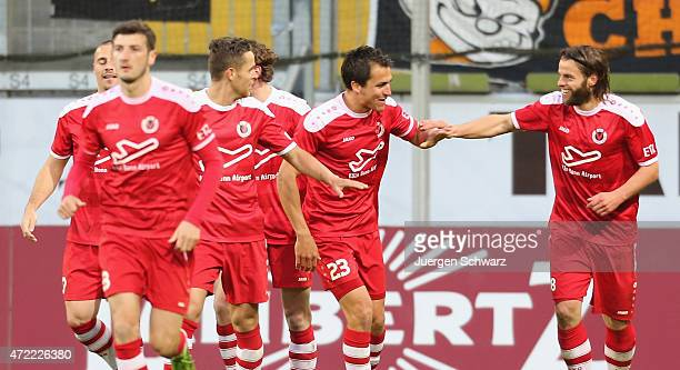 Timo Roettger of Cologne celebrates with Andreas Schaefer after scoring during the Regionalliga West match between Alemannia Aachen and Viktoria...