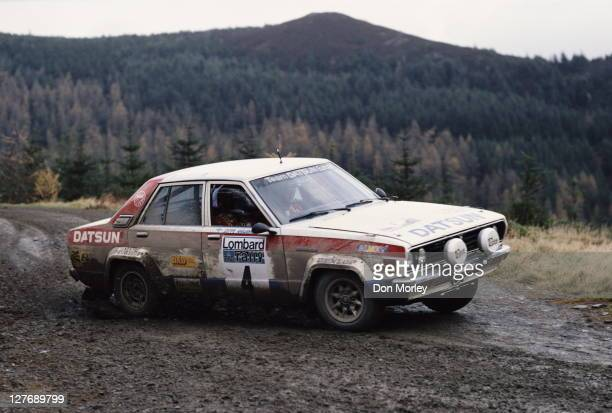 Timo Salonen and his co driver navigator Seppo Harjanne of Finland drive the Team Datsun Europe Castrol Datsun 160J during the FIA World Rally...
