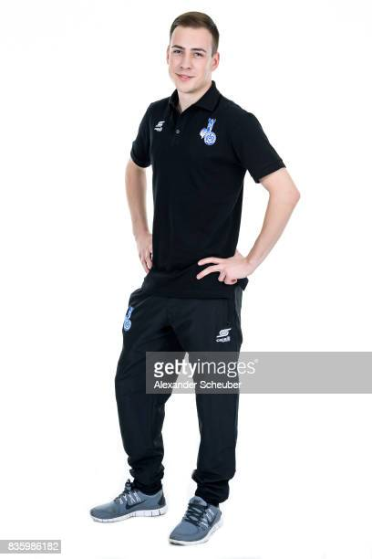 Timo Scheel of MSV Duisburg poses during the Allianz Frauen Bundesliga Club Tour at MSV Duisburg on August 17 2017 in Duisburg Germany