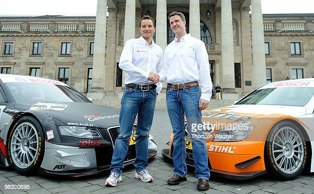 Timo Scheider and Ralf Schumacher pose during the DTM German Touring Car press conference at the Kurhaus on April 8 2010 in Wiesbaden Germany