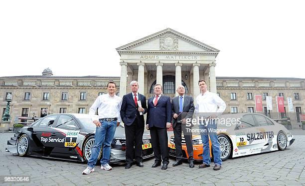 Timo Scheider Detlev Bendel city council of Wiesbaden Thomas Betzler dircector of ITR Henning Wossidlo executive of Kurhaus and Ralf Schumacher pose...
