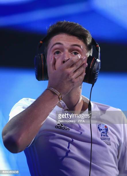 Timo 'Timox' Siep of Germany reacts in the semi final second leg match against Kai 'Deto' Wollin of Germany during day three of the FIFA Interactive...