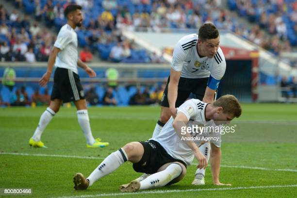 Timo Wener and Julian Draxler of Germany are seen during the FIFA Confederations Cup 2017 soccer match between Cameroon and Germany in Sochi Russia...