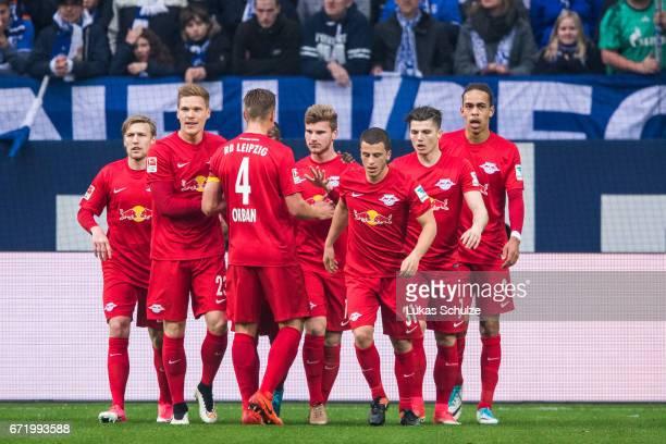 Timo Werner an team mates of Leipzig celebrate his teams first goal during the Bundesliga match between FC Schalke 04 and RB Leipzig at VeltinsArena...