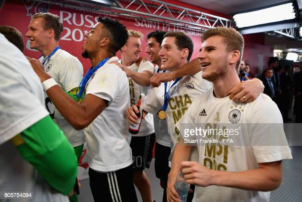 Timo Werner and Germany players celebrate after the FIFA Confederations Cup Russia 2017 Final between Chile and Germany at Saint Petersburg Stadium...
