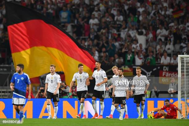 Timo Werner Leon Goretzka Sandro Wagner Julian Brandt Amin Younes Joshua Kimmich of Germany celebrate their teams 6th goal during the FIFA 2018 World...