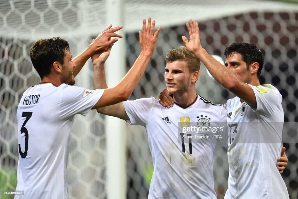 Timo Werner of German celebrates scoring his sides third goal with Jonas Hector of Germany and Lars Stindl of Germany during the FIFA Confederations Cup Russia 2017 Semi-Final between Germany and Mexico at Fisht Olympic Stadium on June 29, 2017 in Sochi, Russia.