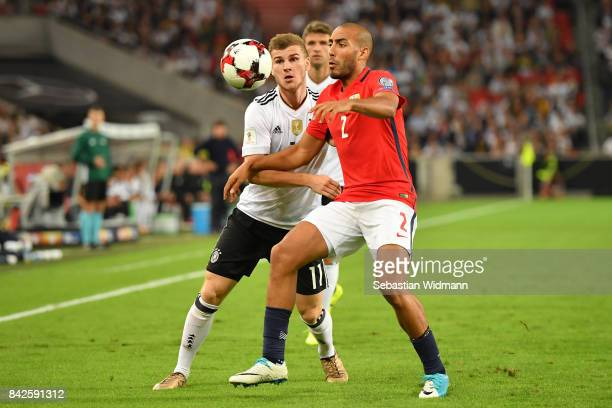 Timo Werner of Germany and Haitam Aleesami of Norway fight for the ball during the FIFA 2018 World Cup Qualifier between Germany and Norway at...
