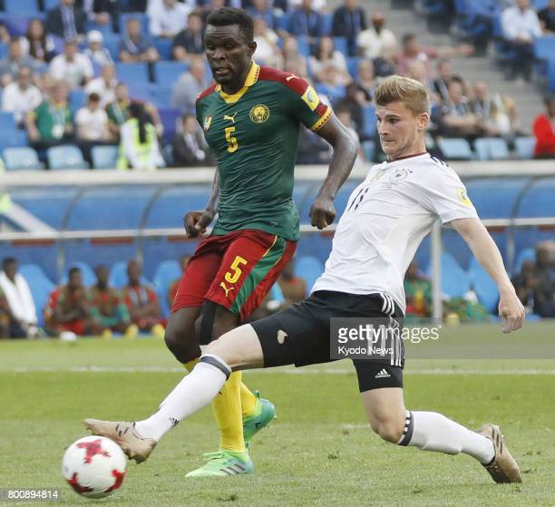 Timo Werner of Germany attempts to connect with a cross in the first half of a 31 win over Cameroon in a Group B match in Sochi Russia at the...