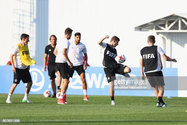 Timo Werner of Germany battles for the ball during a team Germany training session at Park Arena training ground ahead of their FIFA Confederations...