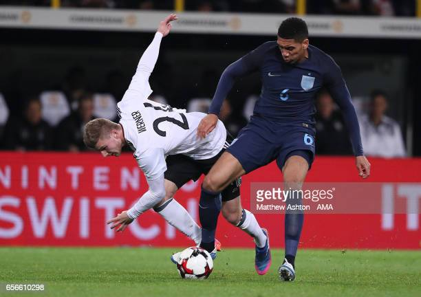 Timo Werner of Germany battles with Chris Smalling of England during the international friendly match between Germany and England at Signal Iduna...