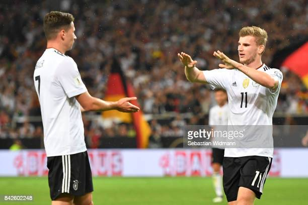 Timo Werner of Germany celeberates with Julian Draxler of Germany after he scored to make it 40 during the FIFA 2018 World Cup Qualifier between...