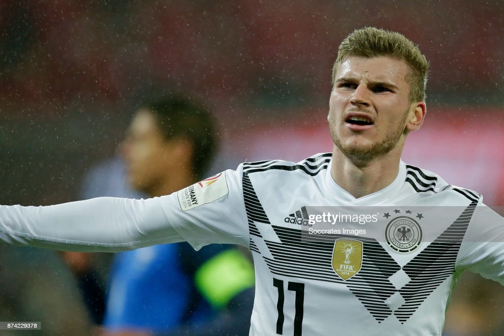 Timo Werner of Germany celebrates 1-1 during the International Friendly match between Germany v France at the RheinEnergie Stadium on November 14, 2017 in Koln Germany