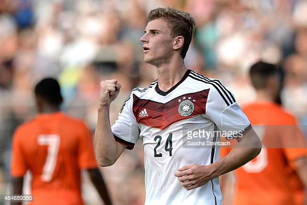 Timo Werner of Germany celebrates after scoring his team's second goal by a penalty during the international friendly match between U19 Germany and...