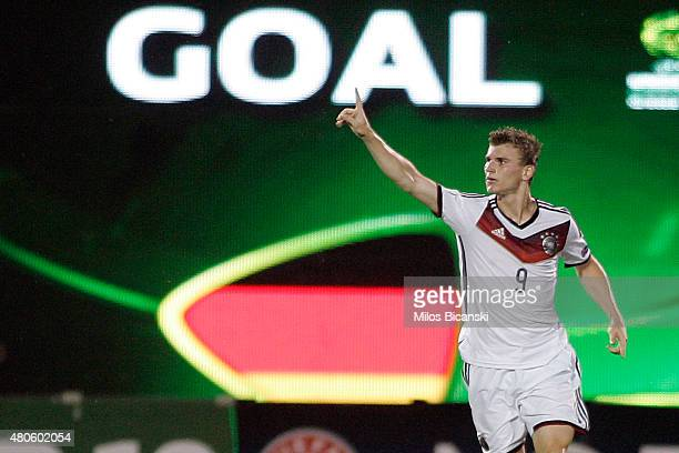 Timo Werner of Germany celebrates his second goal during the UEFA European Under19 Championship group stage match between U19 Russia and U19 Germany...