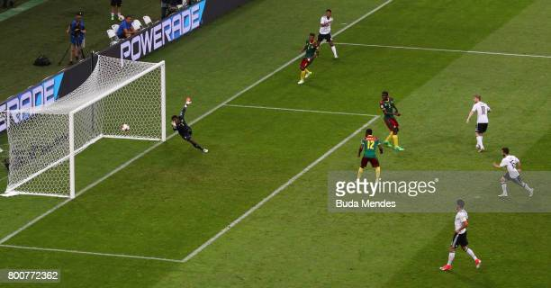 Timo Werner of Germany celebrates scoring his sides third goal past Joseph Ondoa of Cameroon during the FIFA Confederations Cup Russia 2017 Group B...