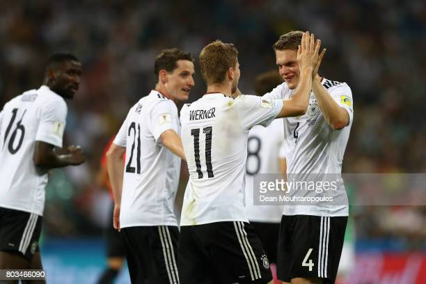 Timo Werner of Germany celebrates scoring his side's third goal with his team mates during the FIFA Confederations Cup Russia 2017 SemiFinal between...