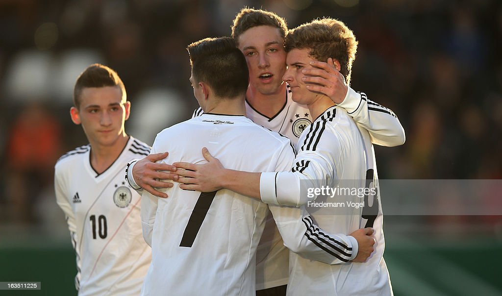 Timo Werner (R) of Germany celebrates scoring the first goal with his team during the U17 International Friendly match between Germany and Georgia at Toennies-Arena on March 6, 2013 in Rheda-Wiedenbruck, Germany.
