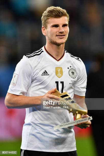 Timo Werner of Germany celebrates winning the golden boot during the FIFA Confederations Cup Russia 2017 Final between Chile and Germany at Saint...