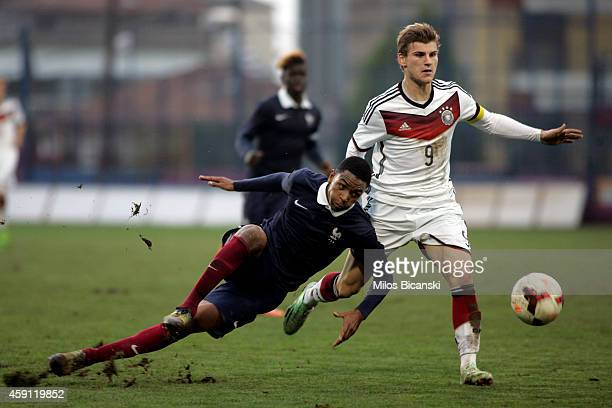 Timo Werner of Germany competes with Jeremie Boga of France during the UEFA U19 Friendly Tournament match between France vs Germany at Stadium Veria...