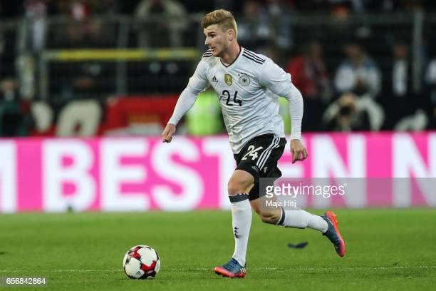Timo Werner of Germany controls the ball during the international friendly match between Germany and England at Signal Iduna Park on March 22 2017 in...