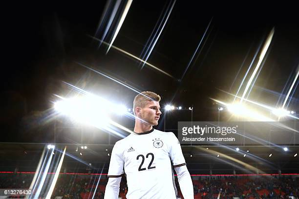 Timo Werner of Germany enters the field for the 2017 UEFA European U21 Championships Qualifier between Germany and Russia at Audi Sportpark on...