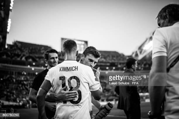 Timo Werner of Germany gets attention of Joshua Kimmich of Germany after winning the FIFA Confederations Cup Group B match between Germany and...