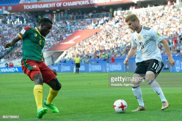 Timo Werner of Germany in action against Michael Ngadeu Ngadjui of Cameroon during the FIFA Confederations Cup 2017 soccer match between Cameroon and...