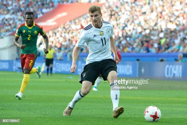 Timo Werner of Germany in action during the FIFA Confederations Cup 2017 soccer match between Cameroon and Germany in Sochi Russia on June 25 2017