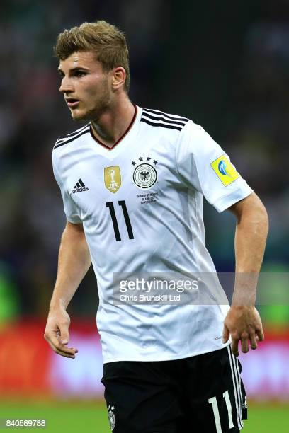 Timo Werner of Germany in action during the FIFA Confederations Cup Russia 2017 SemiFinal between Germany and Mexico at Fisht Olympic Stadium on June...