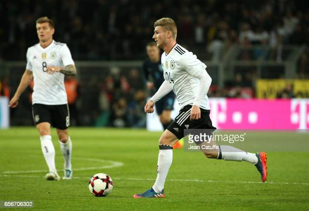 Timo Werner of Germany in action during the international friendly match between Germany and England at Signal Iduna Park on March 22 2017 in...